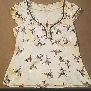 Nanette Lepore silk blouse reindeer.